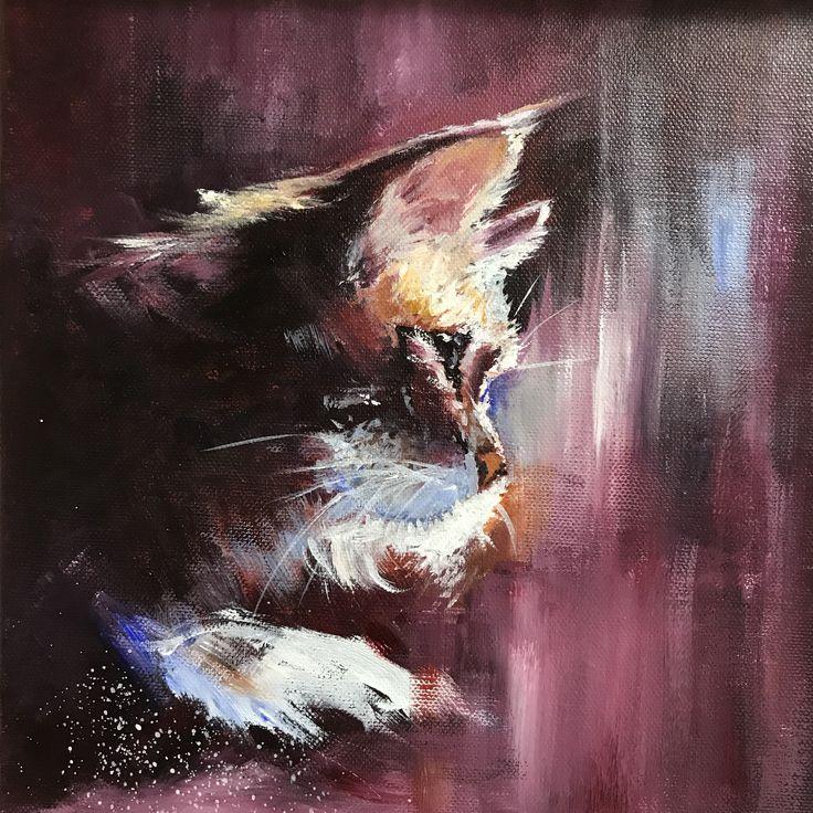 Cat after Lindsay Kustusch - acrylic