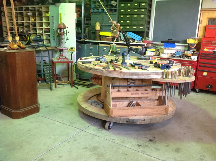Workbenches drums and repurposed on pinterest for Repurposed drum shelf