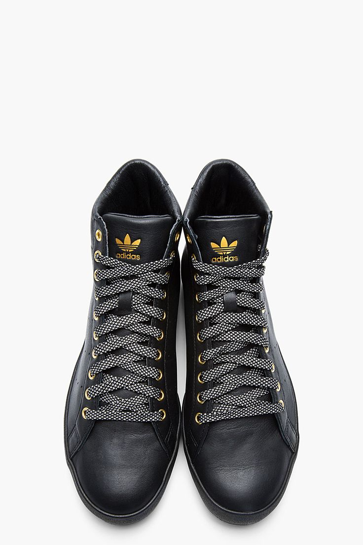 Adidas Originals Black and Gold Leather Rod Laver Vintage Mid-Tops -  Opening Ceremony