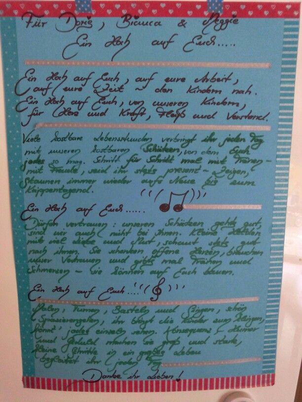 Ein Herzensdankeschön an die Erzieherinnen der Goldbachbärchen zum Abschied...nach dem Lied von Andreas Bourani