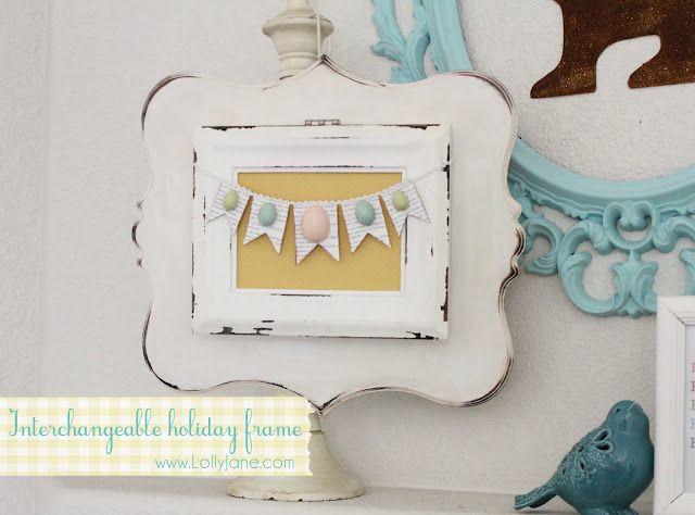 adorable interchangable frame!!Crafty Stuff, Crafts Ideas, Interchangeable Holiday, Holiday Frames, Gift Ideas, Easter Decor, Easter Eggs, Interchangeable Frames, Easter Ideas