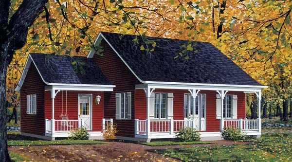 Cabin?  House Plan 65047   Bungalow Country Ranch Plan with 946 Sq. Ft., 2 Bedrooms, 1 Bathrooms at family home plans