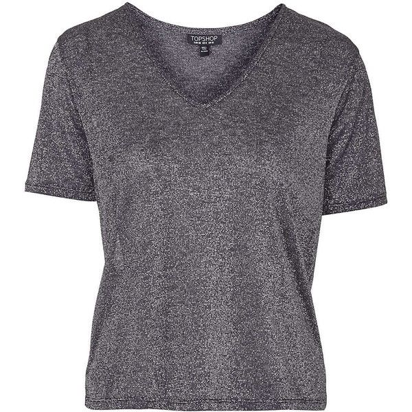 TOPSHOP Soft V-Neck Metallic Tee found on Polyvore featuring tops, t-shirts, silver, relaxed fit tee, relaxed fit tops, topshop, relax t shirt and vneck tee