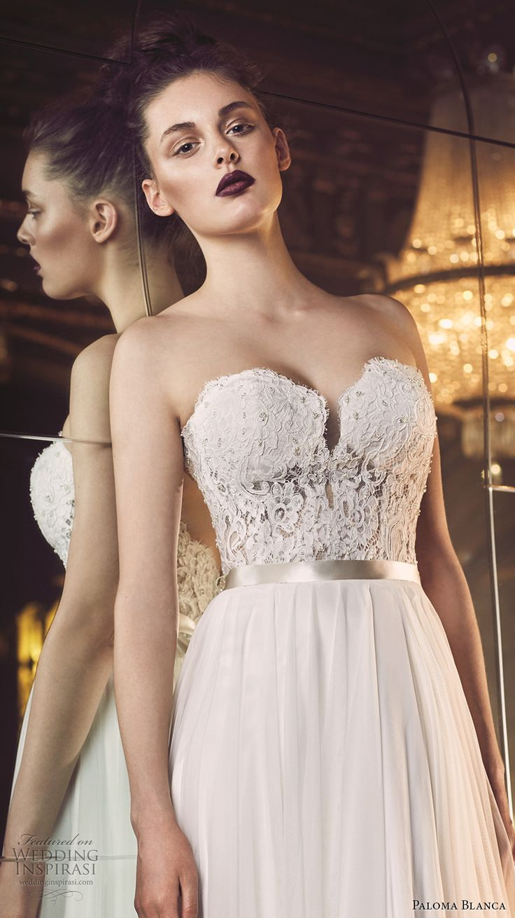 paloma blanca fall 2016 bridal strapless sweetheart neckline heavily embellished bodice sexy romantic a  line wedding dress open back sweep train (4707) zv