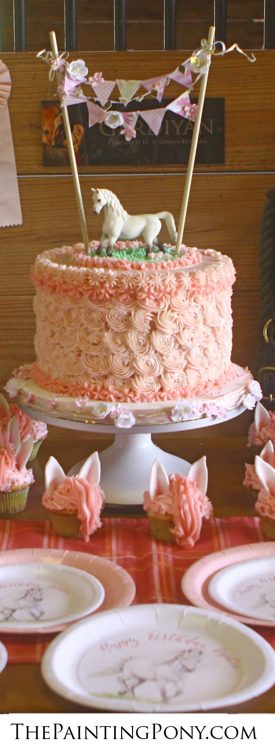 Pony Party Ideas - cute blog post about a horse themed birthday party in a barn for a little girl who's pony passed away. Such a cute, sweet cowgirl birthday party with pink and white colors with pony rides and an adorable cake!
