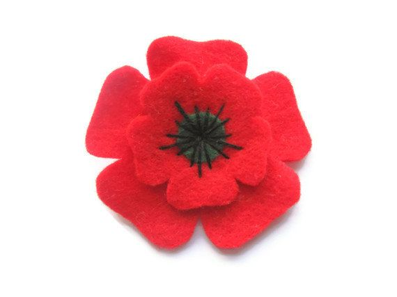Poppy Brooch Felt Christmas Felt Brooch by GracesFavours on Etsy, £8.00