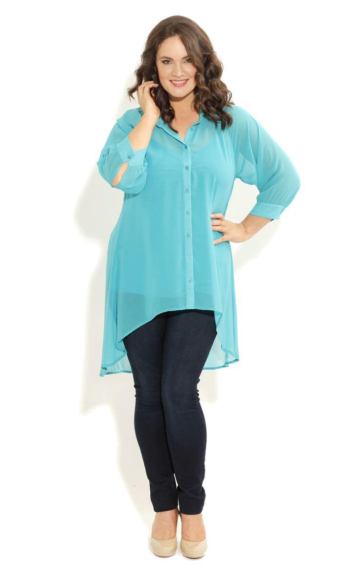 City Chic - SURPRISE BACK SHIRT - Women's plus size fashion