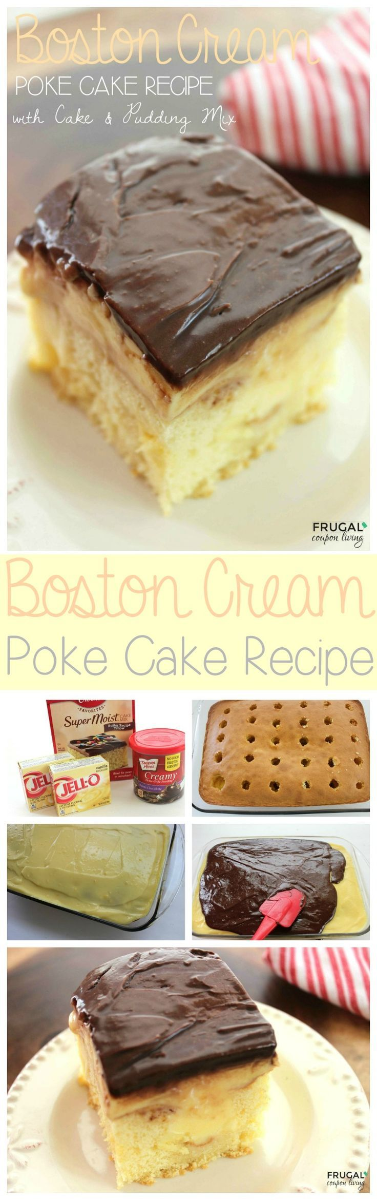 Boston Cream Poke Cake using Pudding Mix and Cake Mix on Frugal Coupon Living