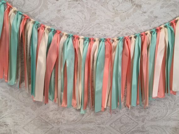 {{{NOTE: ALL GARLANDS ARE SHIPPED PRIORITY MAIL}}}   This adorable Ribbon Tassel Garland is so cute for a Baby Shower, Bridal Shower, Rustic Country Barn Wedding, Birthday Party, Outdoor Party, Photography Backdrop or to hang in a Nursery or Little Girl's Room.  I personally make the Ribbon Tassel Garland for you in my Design Room in my home. My Ribbon Garland is full and I use high-quality double-sided satin ribbon for your Garland. The ends of the ribbons are sealed to prevent fraying…