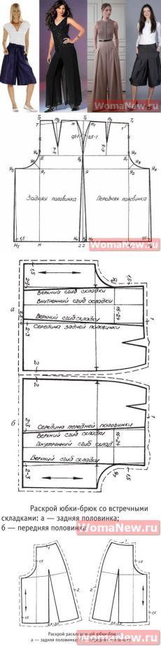 Wide leg 'Skirt' pants pattern | WomaNew.ru - sewing lessons.