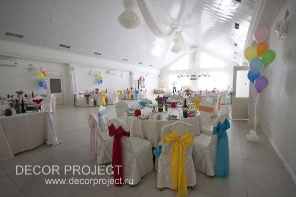 Радужная свадьба - оформление гостевыхстолов