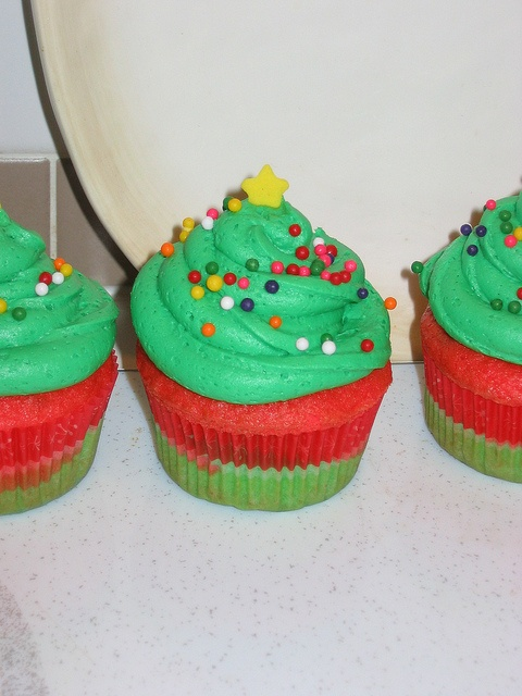 Christmas tree cupcakes for my baby's preschool
