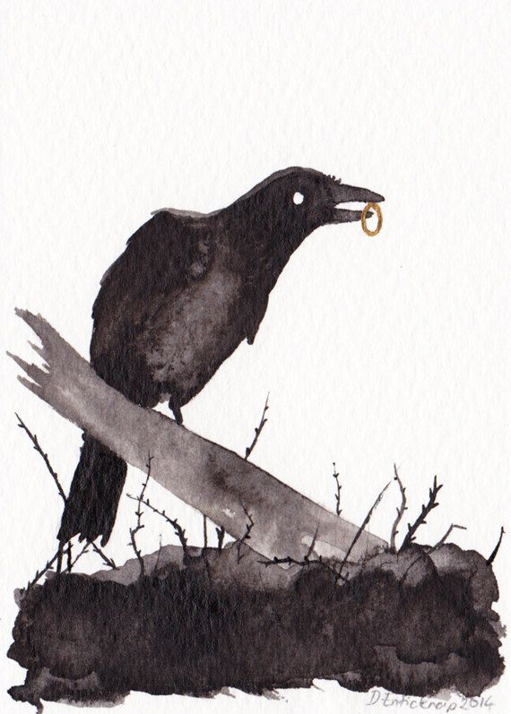 Raven and Ring - ACEO - Original Art Card Illustration available on Etsy