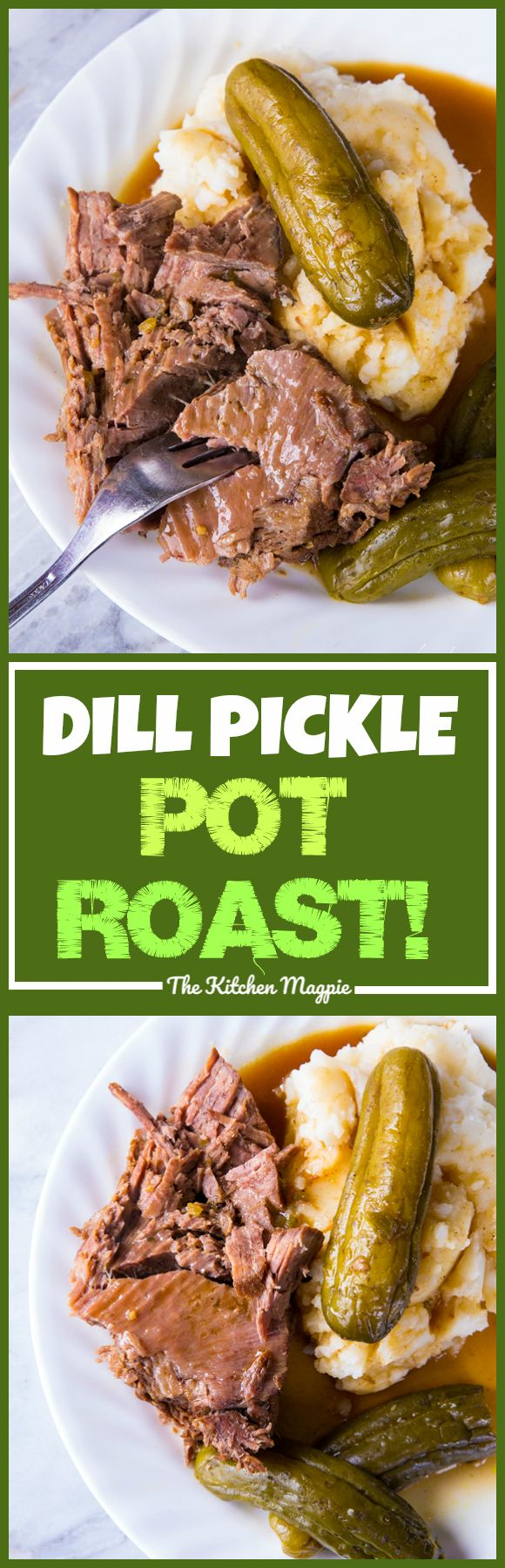 DILL PICKLE POT ROAST & PICKLE GRAVY! If you love pickles you are going to flip for this pot roast! Similar to the Mississippi Pot Roast but NOT spicy and infused with a fabulous pickle taste! Even the gravy is spectacular! Recipe from @kitchenmagpie #slo