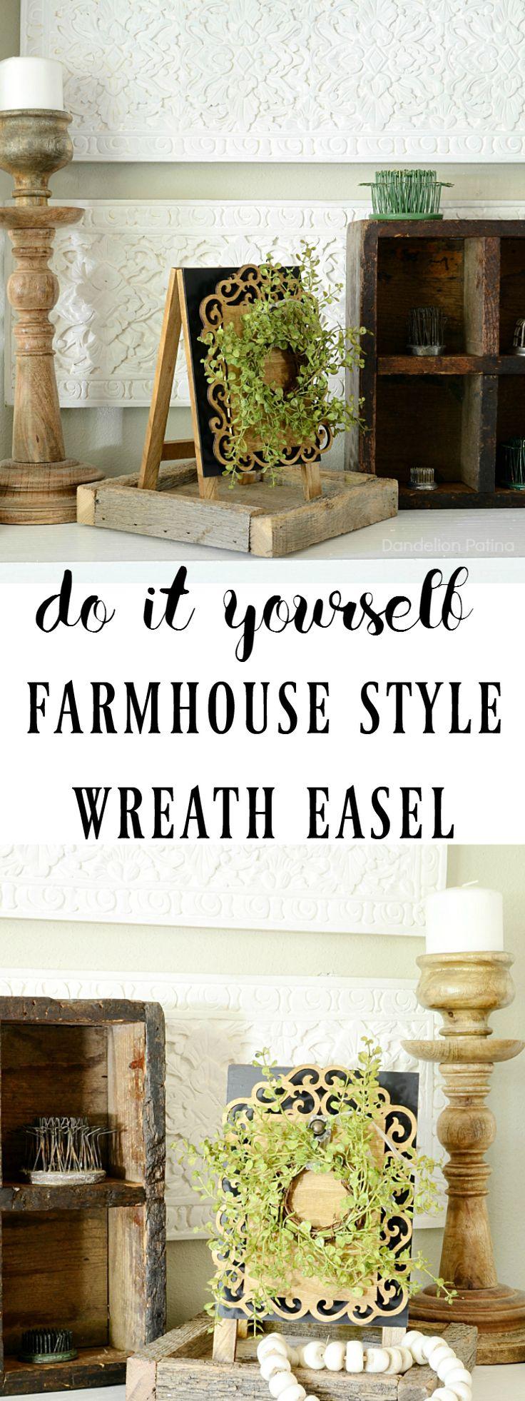 Farmhouse style wreath easel