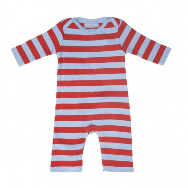 Sky Blue and Red Striped Sleep Suit