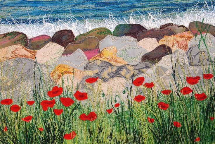 Poppies by the Sea, an original embroidery by Carly Gilliatt