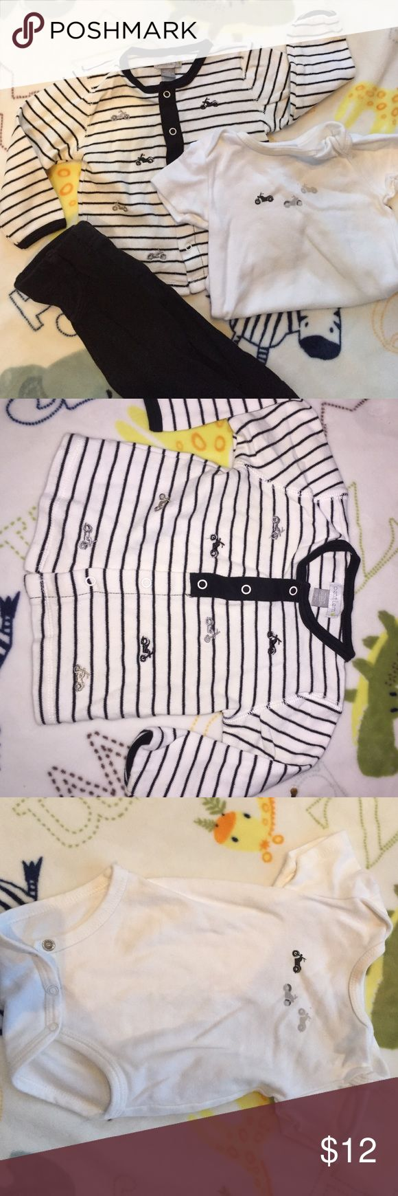 3pc Motorcycle Outfit Super cute black and white motorcycle outfit - onesie, cardigan and pants. Great condition, no stains. Petit Lem Matching Sets