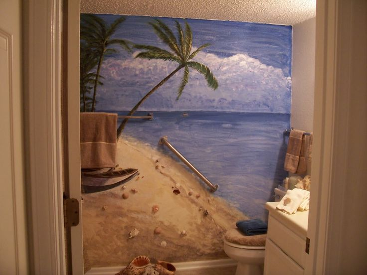 17 best images about beach scene on walls on pinterest for Beach themed bathroom decor