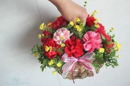 어버이날&스승의날/펠트 카네이션 바구니 세트/felt carnations basket