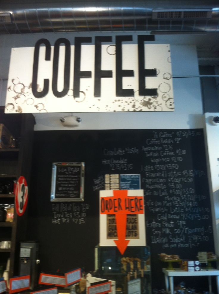 Coffee bar chalk board