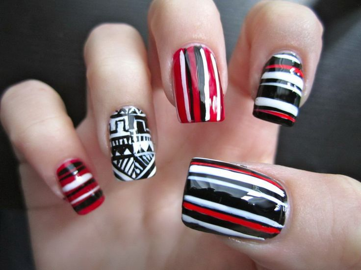 95 best art n design nails images on pinterest nail polishes fun nail art ideas with awesome design with blac and white color dominated prinsesfo Image collections