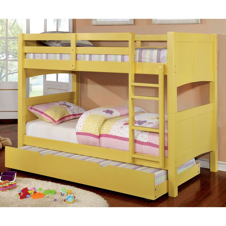 Furniture of America Colorpop Twin over Modern 2-piece Bunk Bed with Trundle Set