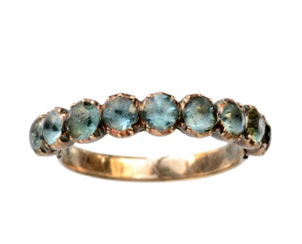 Early 19th Century Georgian Blue-Green Paste Ring, 9K Gold: Erie Basin Antiques