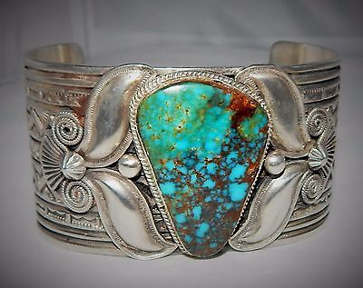 HUGE-Andy-Cadman-Navajo-Royal-Turquoise-Sterling-Silver-Bracelet-156-Grams