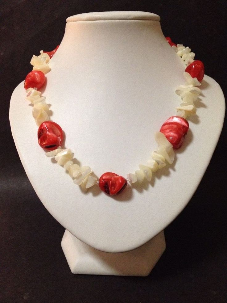 Estate Find - Pre Owned Shell Necklace with Red and White Assorted