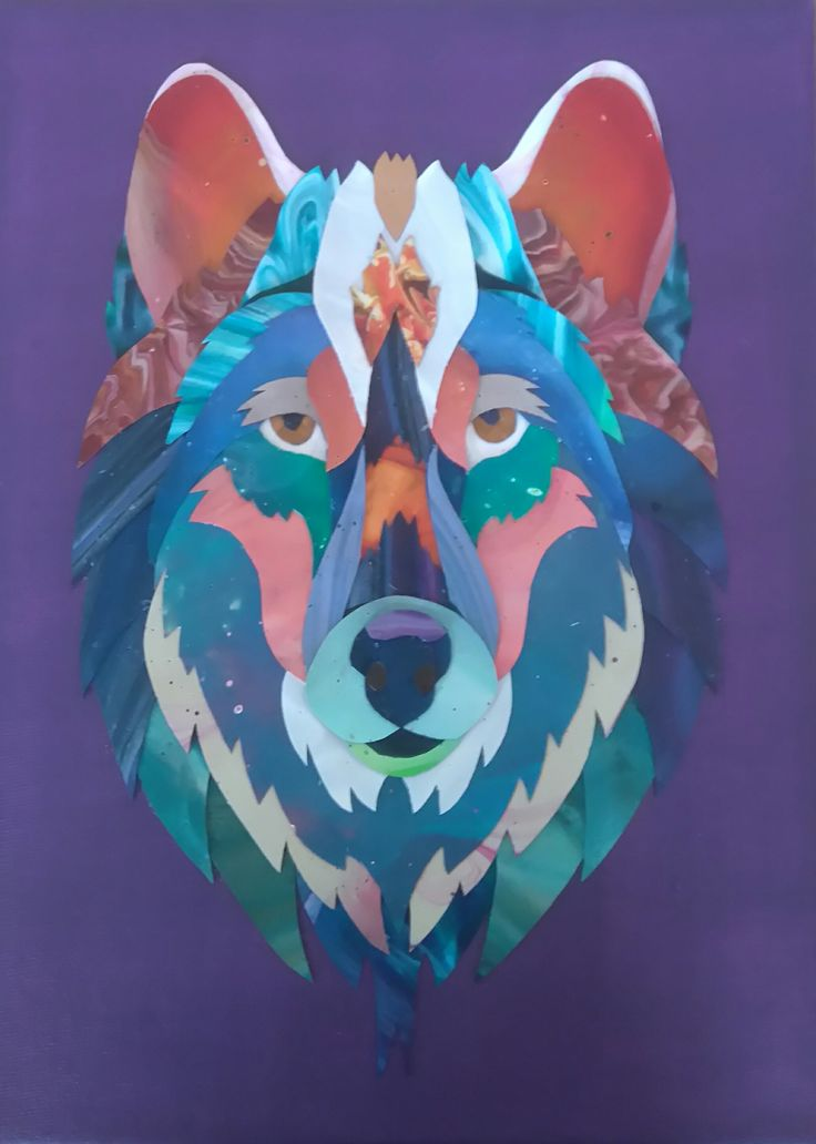 Acrylic skin collage. Wolf by Katherine Ross.