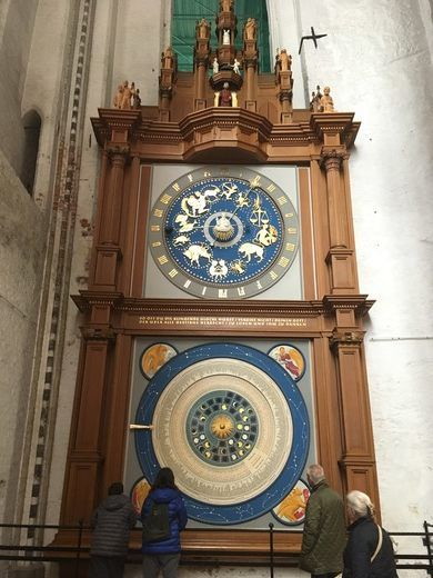 This two-story clock in St. Mary's Church, Lübeck, Germany, gives the time, date, zodiac signs and positions of the sun and moon.