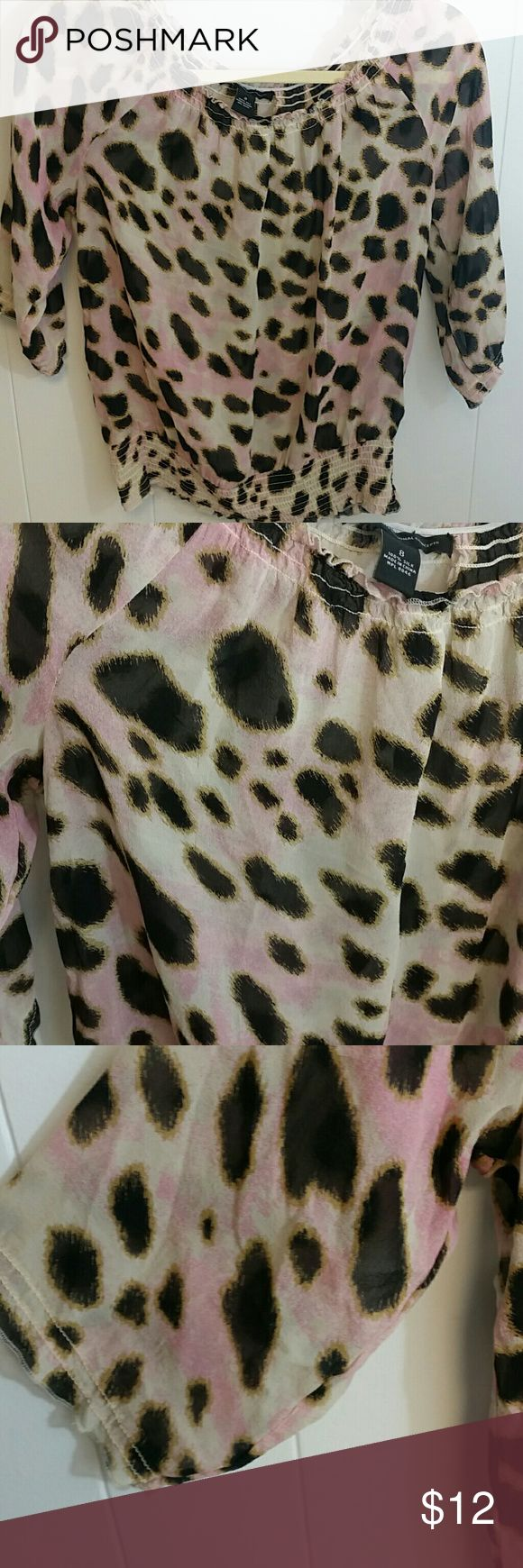 INC see through blouse Pink, black and tan cheetah print blouse. See through. Would need to wear a tank under it. Flattering on. Made with 100% silk INC International Concepts Tops