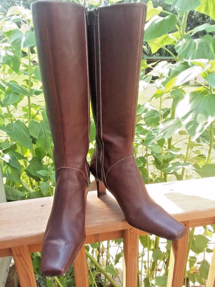 """Anne Klein 'Mapilla"""" Brown Leather women's Knee Boots Size 8M 