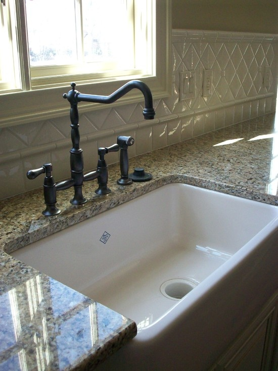 New Venetian Granite With Backsplash   my kitchen sink with faucet and granite