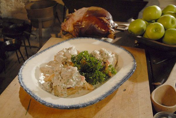 """COLONIAL Recipe: VIRGINIA HAM & OYSTERS ... Requires 3 days of prep ...   1 Virginia ham. 2 shallots, minced.  6 tablespoons butter.  ¼ C sherry.  1 C heavy cream.  S + P.  3 T flour.  12 oysters, shucked, + their liquid.  1 bunch chives, minced.  ½ tsp catsup.  1 bunch parsley, minced, garnish. """"What Did the Founding Fathers Eat?"""" by Chef Walter Staib from A Taste of History via pbs."""