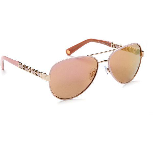 Henri Bendel No. 7 Leather Aviator featuring polyvore, women's fashion, accessories, eyewear, sunglasses, pink, rimmed glasses, pink glasses, pink lens sunglasses, mirror lens sunglasses and aviator glasses