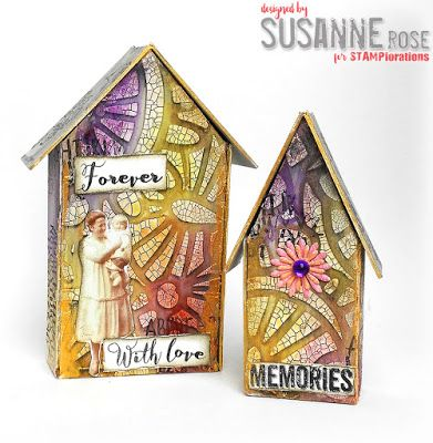 Susanne Rose Designs: Memories - Tim Holtz Tiny Houses with Brushos Mixed Media