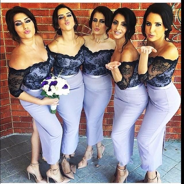 2016 Sexy Bridesmaid Dresses Off Shoulder Black Lace Long Sleeves Sheath Lilac Split Wedding Guest Wear Party Dresses Maid Of Honor Gowns Bridesmaids Dresses Online Cheap Bridesmaid Dresses Online From Haiyan4419, $95.29| Dhgate.Com