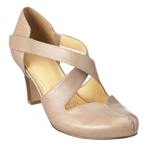 """This dress shoe has a criss-cross adjustable closure and stretch panel on the side for an easier fit. It has a cushioned insole for added comfort and almond shaped toe with stitching detail for added style. Available in medium and wide!  Features a 2 1/2"""" heel."""
