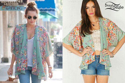 Miley Cyrus: Floral Kimono Cardigan