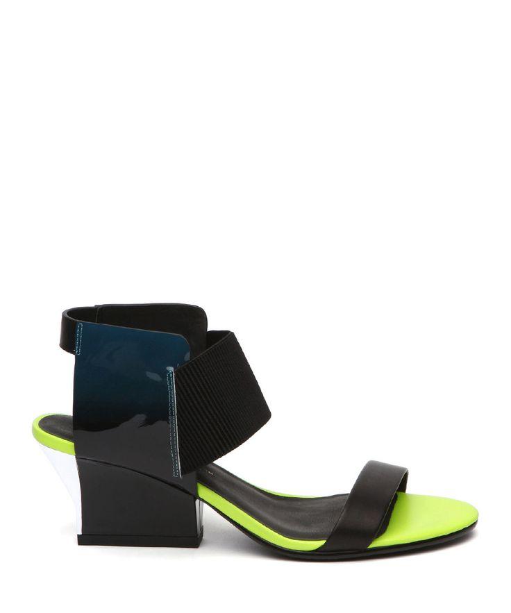 SECRETSALES, Discount Designer Clothes Sale Online - Green & lime leather heeled sandals