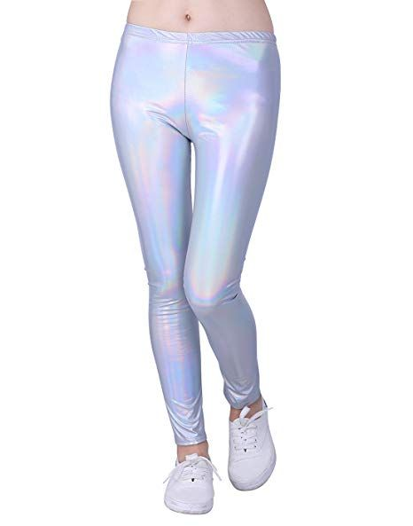 d4ca2a412e512 HDE Girls Shiny Wet Look Leggings Kids Liquid Metallic Footless Tights  Clothing