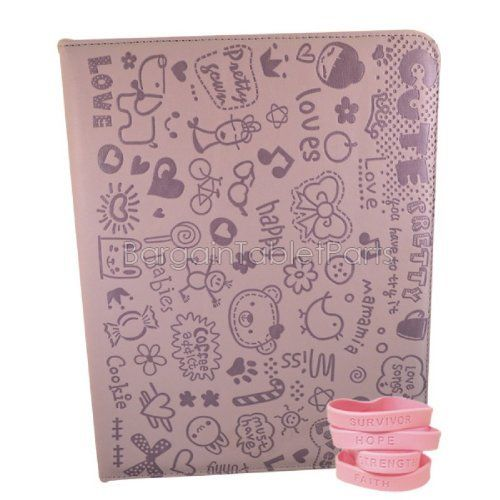 """Ipad 2 and Ipad 3 Cute Series Case Color: Light Purple by Bargain Tablet Parts. $9.99. Cute-LPurple Color: Light Purple Features: -All of the iPad 2 and iPad 3 ports, buttons, speakers, and cameras are visible and accessible with the case on.-High quality case built specifically to fit the Apple iPad 2 and 3.-Smart cover to sleep saving you battery life. Construction: -Constructed of highest quality synthetic leather. Dimensions: -Dimensions: 10"""" H x 7.5"""" W x 0.75"""" D."""
