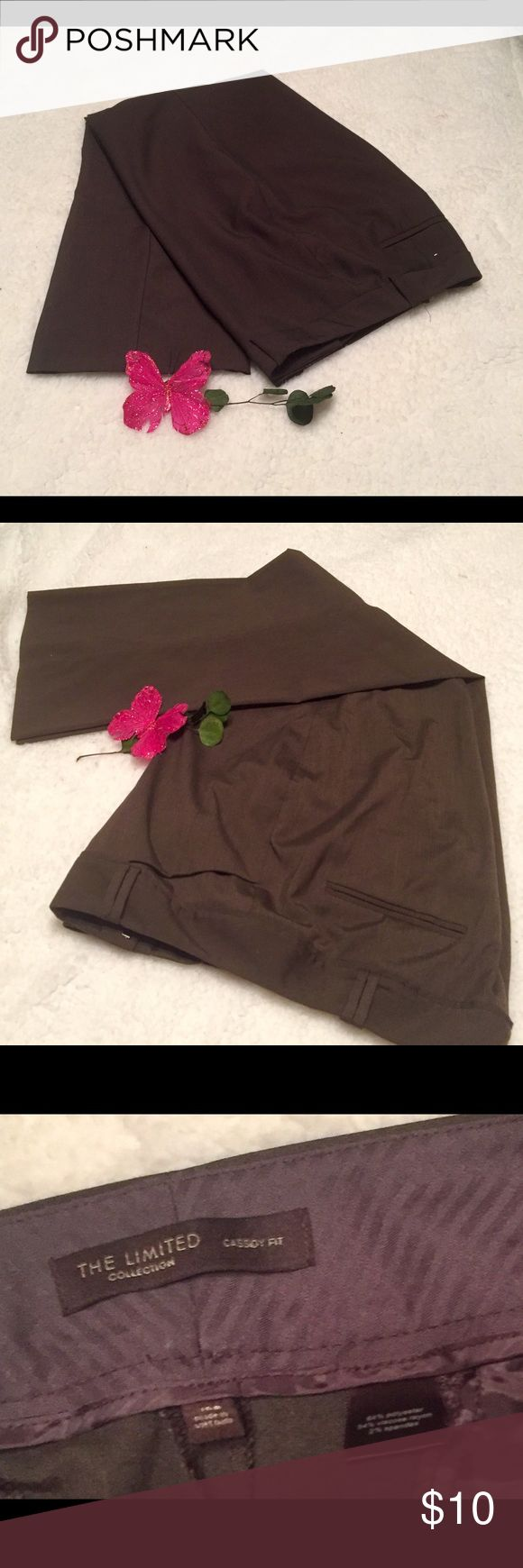 The Limited Collection classify fit Brown slacks 64% polyester 2 % spandex. Waist 38 rise 11 inseam 29 hip 44. The Limited Pants Trousers