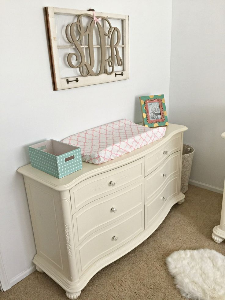 Monogram and Changing Table from a mint, pink, and gold nursery