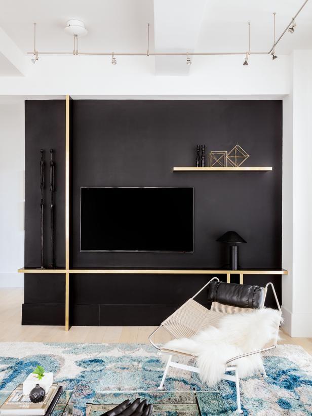 Big City Digs Hgtv Faces Of Design 2018 Hgtv Tv Wall Design Black Accent Walls Black Walls