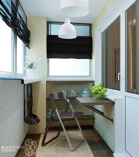 подвесной стол на балконе