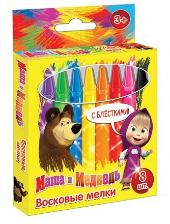 """Восковые мелки с блестками """"Маша и медведь"""" 8 шт, Росмэн, 21230, купить в интернет магазине детских игрушек Toyway"""
