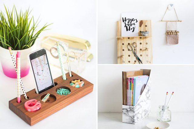 Organize and upgrade your workspace with these easy and fashionable DIYs for all your office supplies.